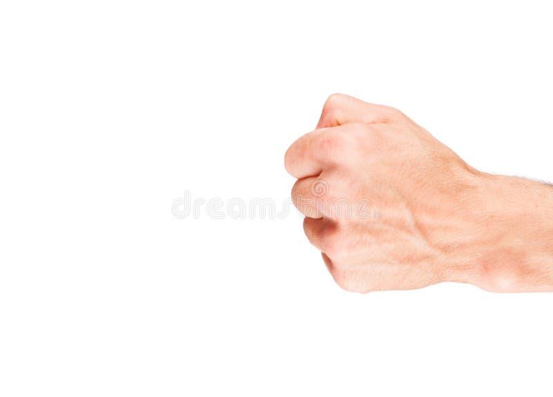 Puño humano aislado en el fondo blanco foto de archivo
