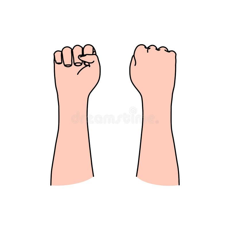 Puño humano como símbolo del alboroto, conflicto, revolución, libertad ilustración del vector
