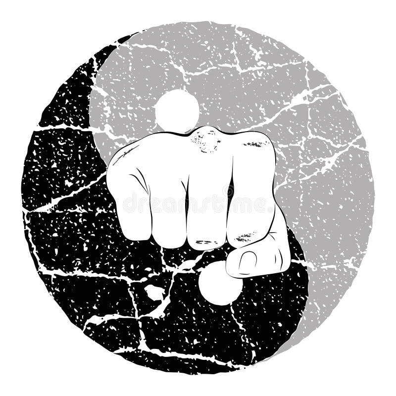 Puño Yin Yang ilustración del vector