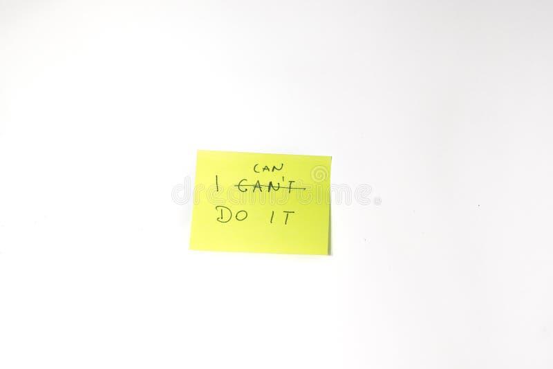 Può farlo il Post-it motivazionale fotografia stock