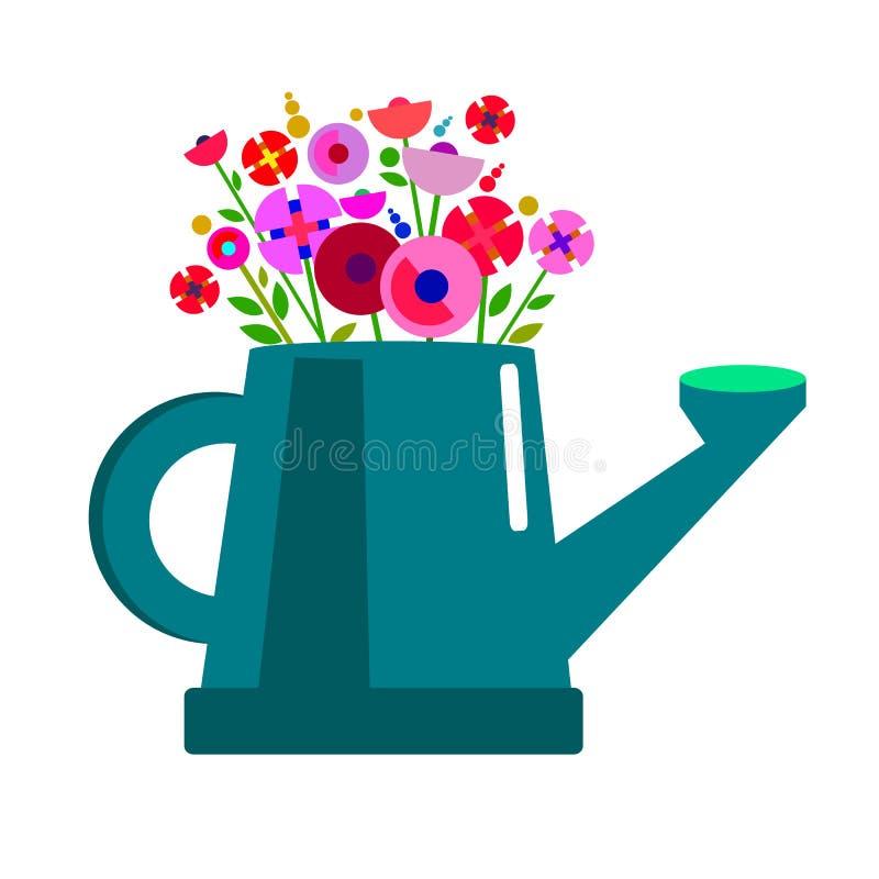 Può l'innaffiatura della natura della molla dell'illustrazione di giardinaggio di fiore della pianta di giardino royalty illustrazione gratis
