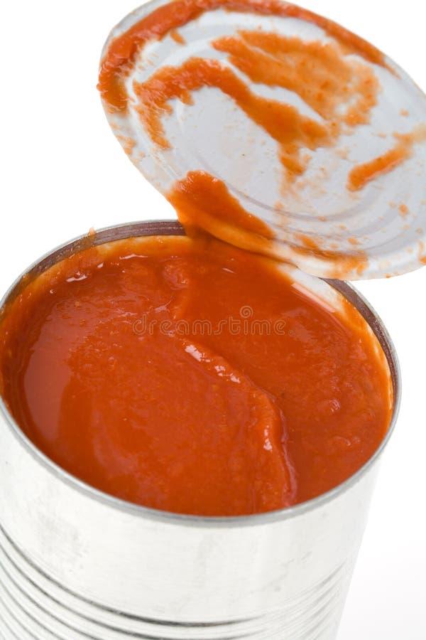 Può la salsa di pomodori fotografia stock libera da diritti