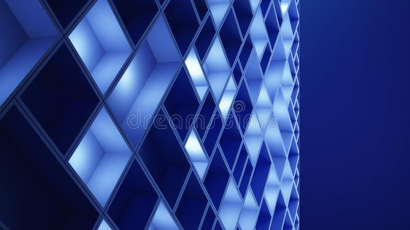 Può usare come priorità bassa Cubi blu nel fondo alta tecnologia di tecnologia 3d royalty illustrazione gratis