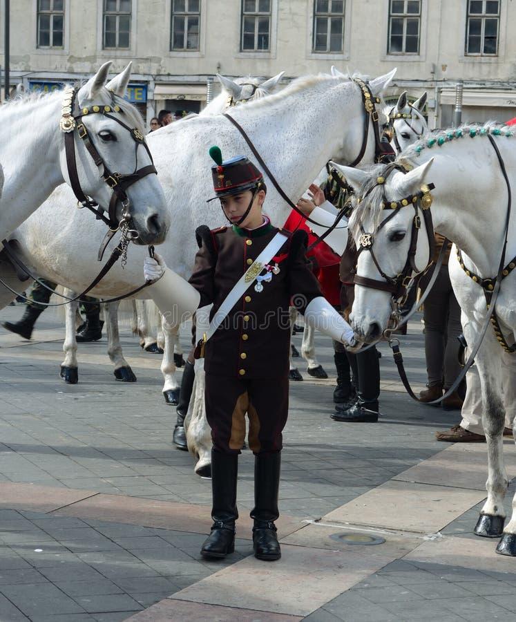 Pułk Kawalerii z Lusitano Białymi koniami na Pracie da Figueira Lisbon Portugal&-x27; fotografia stock