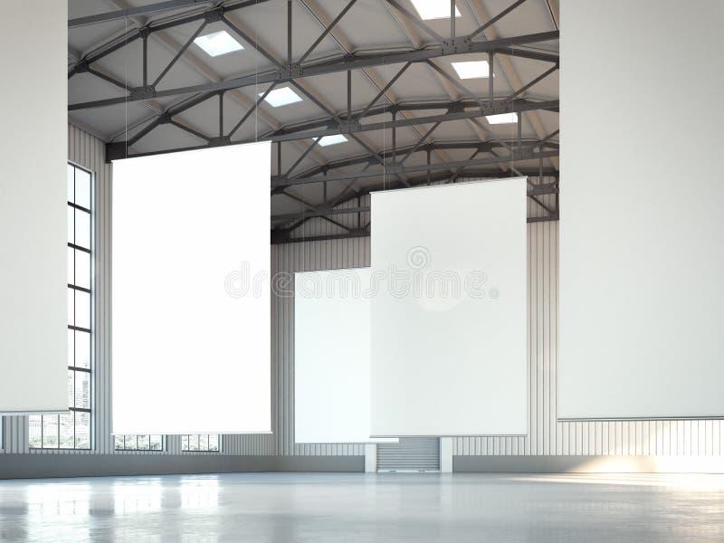 Puści biali sztandary w hangaru terenie świadczenia 3 d zdjęcie stock