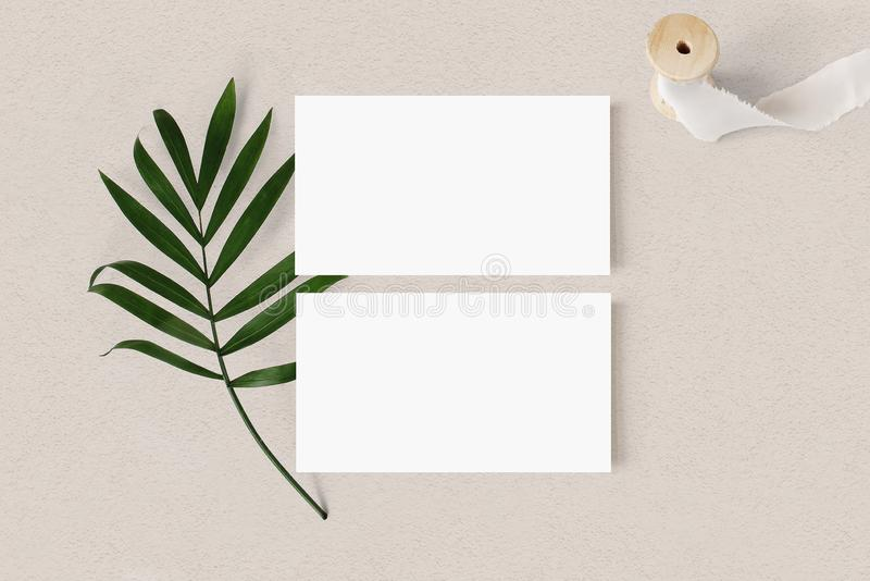 Puści biali wizytówek mockups z palmowego liścia i jedwabiu faborkiem na textured stołowym backgound Elegancki nowo?ytny szablon obraz royalty free