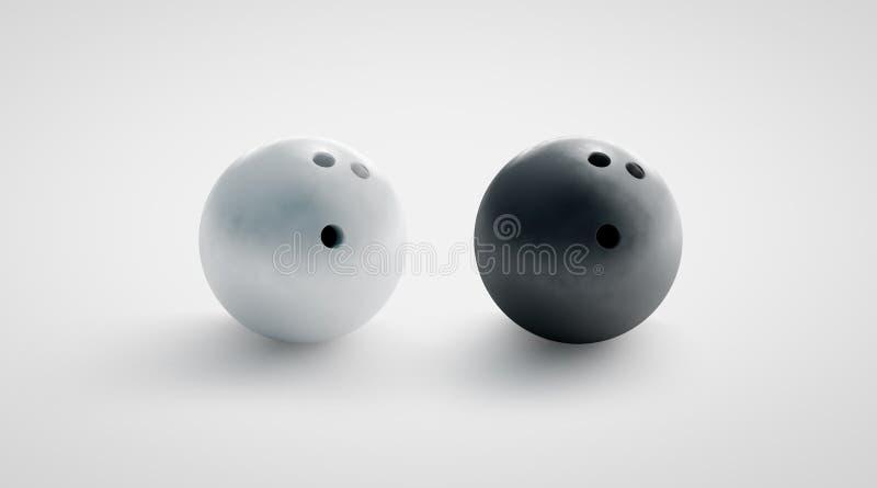 Puści czarny i biały kręgle piłki mockups ustawiają, frontowy widok obrazy royalty free