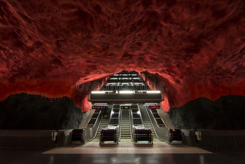 Puści czerwoni metro strairs w Sztokholm zdjęcia royalty free