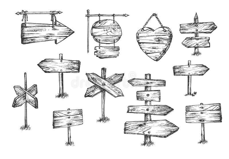 Puści drewniani pointery i znaki ustawiający ilustracji