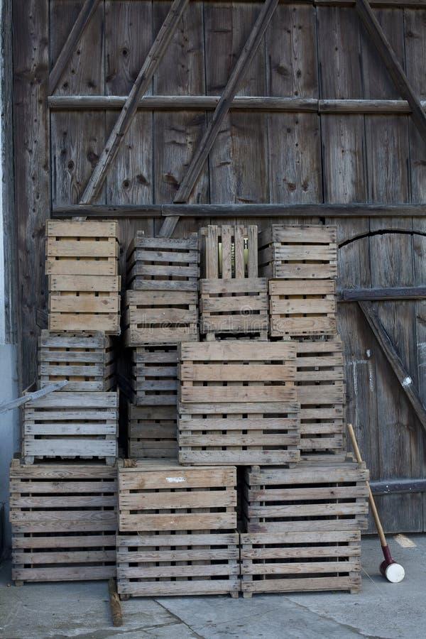 Puści drewniani pudełka zdjęcia stock