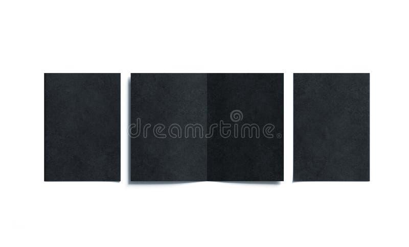 Puści dwa czerni a5 broszury składający egzamin próbny up, otwierający i zamykający zdjęcia royalty free