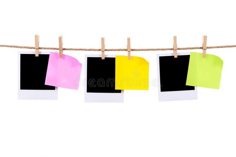 Puści fotografia druki i kleiste notatki na arkanie zdjęcia royalty free