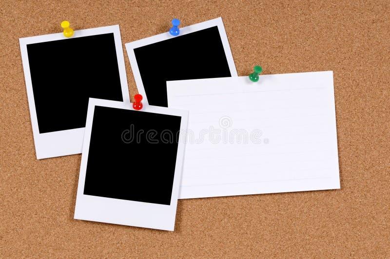 Puści fotografia druki z wskaźnik kartą obraz stock