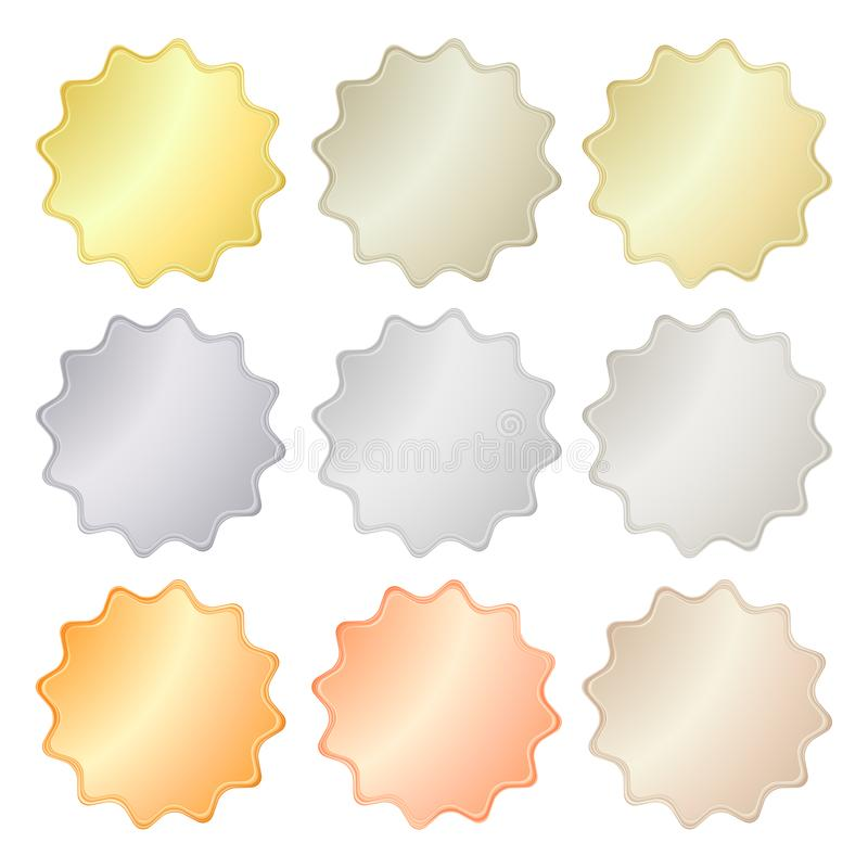 Puści glansowani wektorowi majchery w złocie, czerwony złoto, platyna, srebro, brąz, groszak, aluminium Co może używać jako monet royalty ilustracja