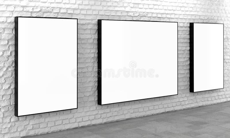 Puści lekcy pudełka na białym ściana z cegieł ilustracja wektor