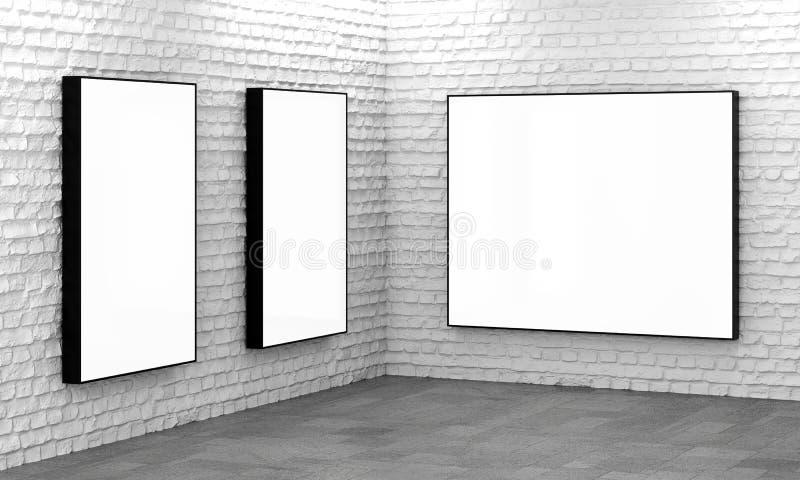 Puści lekcy pudełka na białym ściana z cegieł ilustracji