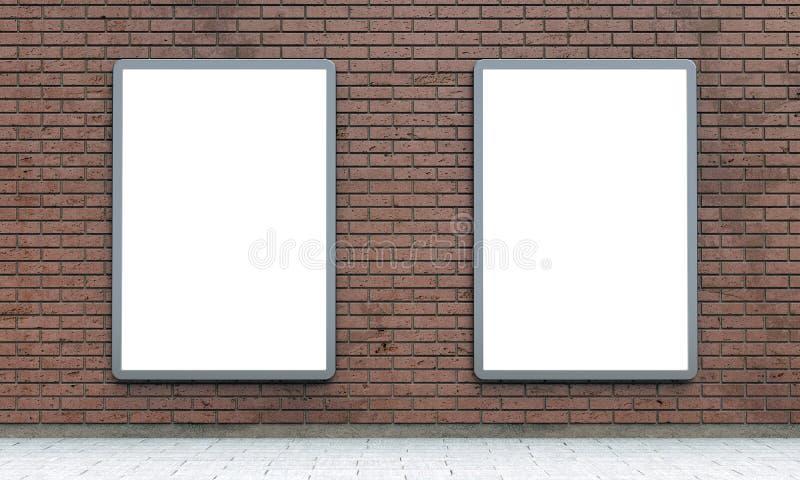 Puści lightboxes lub ulicy LCD panel na brąz ścianie z cegieł royalty ilustracja