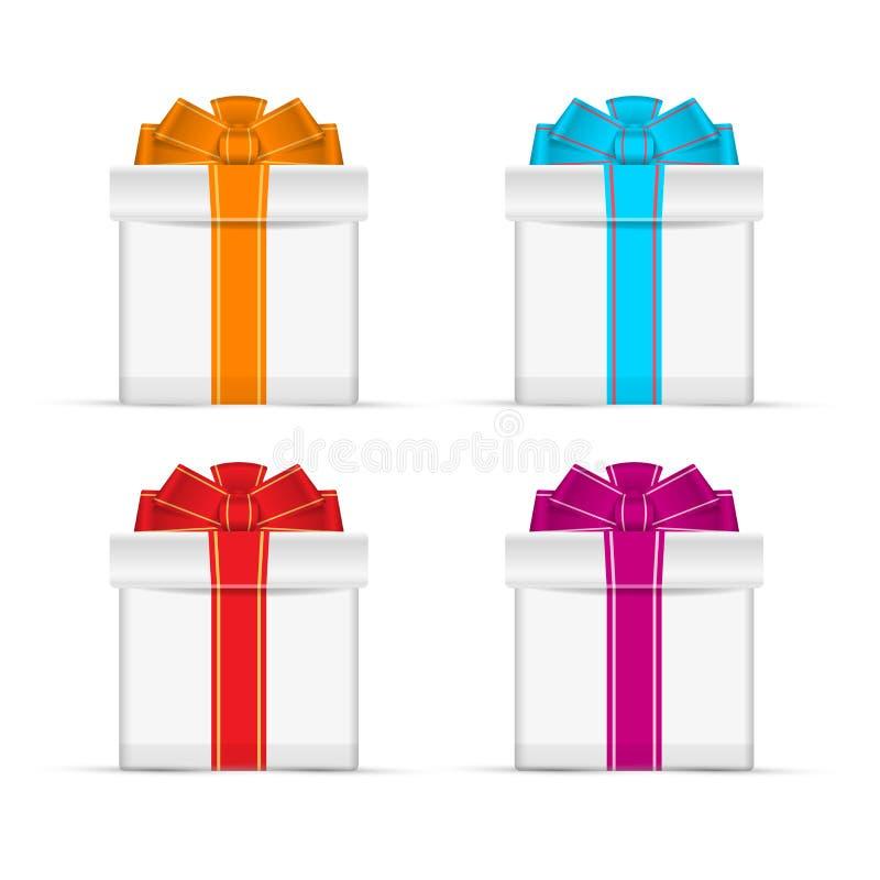 Puści prezentów pudełka z Stubarwnymi faborkami Wektorowi projektów elementy Ustawiający dla Was Projektują ilustracji