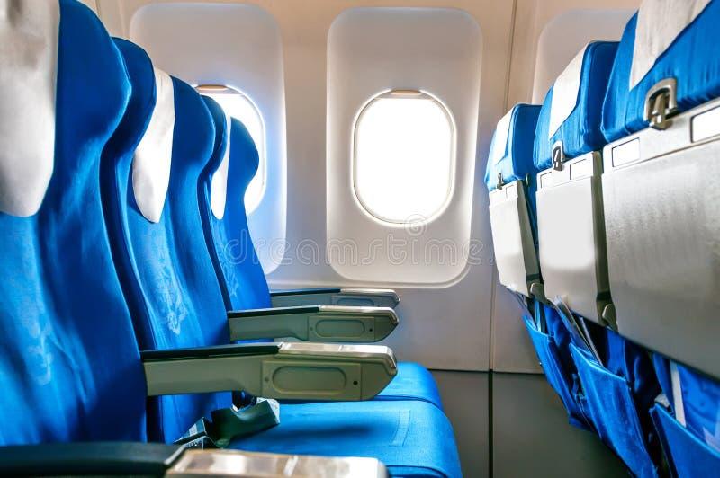 Puści samolotów siedzenia, okno i w Shanghai zdjęcia royalty free