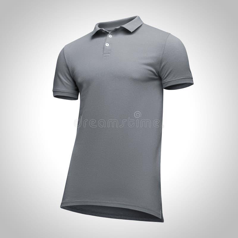 Puści szablonów mężczyzna siwieją polo koszula skrótu rękaw, frontowego widoku przyrodni zwrot od podstaw, na szarym tle z ścinek obrazy royalty free