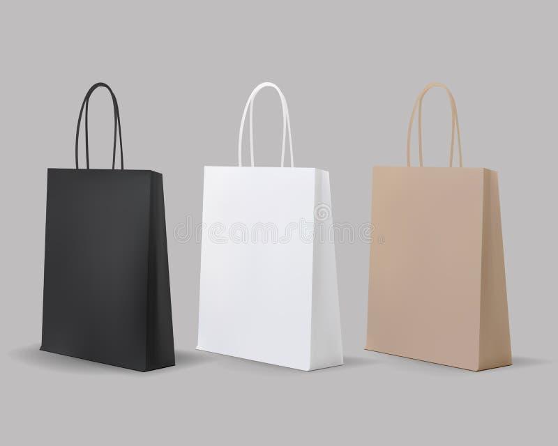 Puści torba na zakupy Ustawiający Biel, Brown, czerń, karton Set dla reklamować i oznakować MockUp pakunek royalty ilustracja