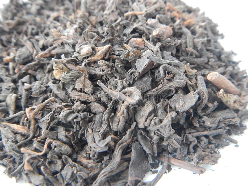 pu erh茶干燥叶子的细节 库存图片