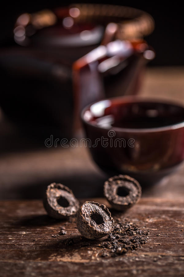 Pu-erh tea leaves stock photography