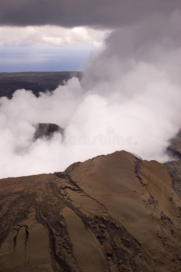 Pu'u O'o Vulkanentlüftungsöffnung auf der großen Insel, Hawaii stockfotos