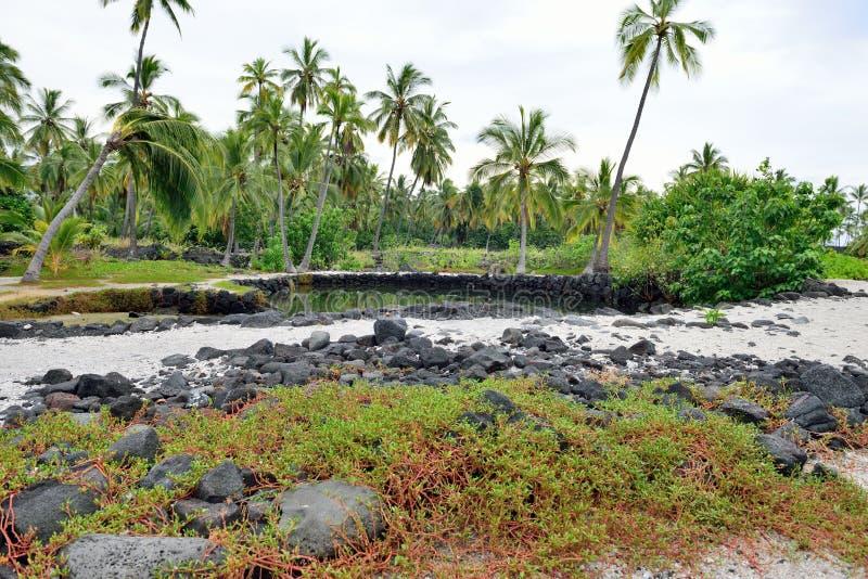 Pu`uhonua o Honaunau the Place of Refuge Big Island of Hawaii stock photos