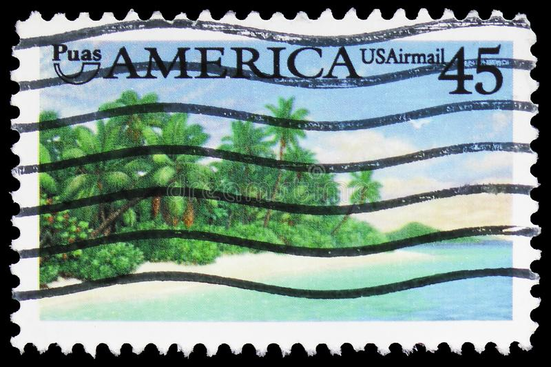 Puas AMERICA - Tropical Coast, Pre-Columbian America Issue serie, circa 1990. MOSCOW, RUSSIA - MARCH 30, 2019: A stamp printed in United States shows Puas royalty free stock photography