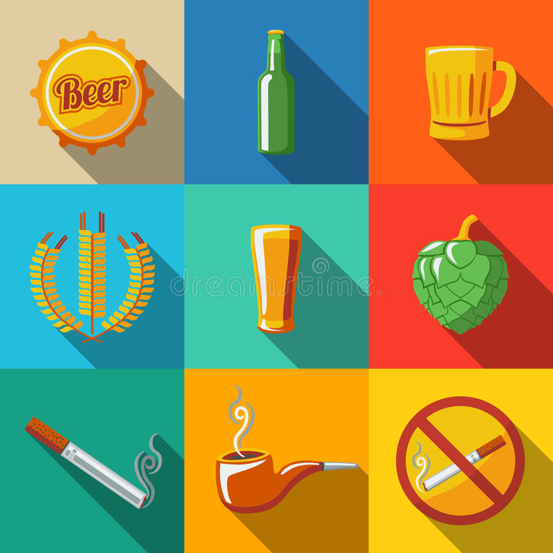 Pub, beer flat long shadow icons set with - Glass vector illustration