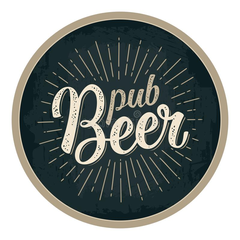 Pub Beer lettering with rays. Advertising design for coaster. stock illustration