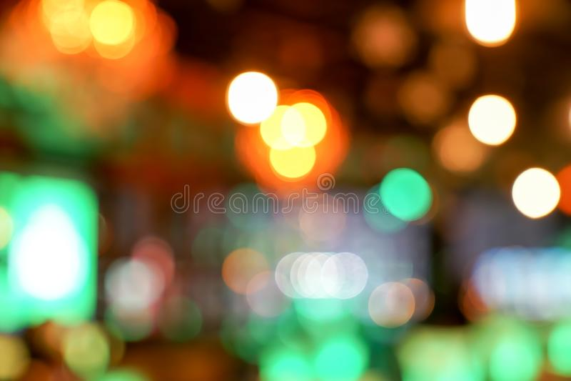 Pub / Club / Bar blurry and bokeh background image. The Pub Club Bar blurry and colourful bokeh background image royalty free stock images