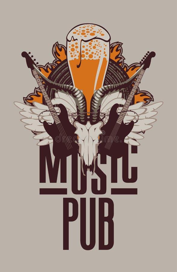 Pub con música en directo ilustración del vector
