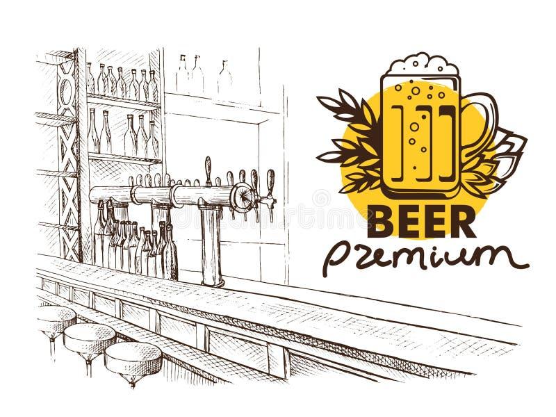 Pub de la barra de la cerveza, tabla larga con las sillas stock de ilustración