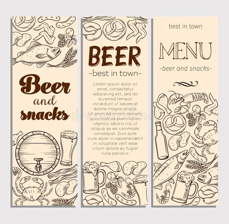 Pub Food and Beer Hand Drawn Template. Banner Design . Vector Alcohol and Snacks Poster with Crab, Lobster, Shrimp, Fish, Chicken Wings and Legs, Pretzel and vector illustration