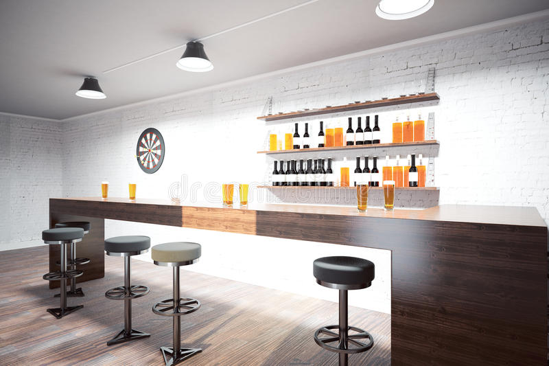 Pub interior. Side view of modern pub interior with counter, stools, shelves with booze, ceiling lamps, white brick wall and wooden floor. Drinking culture vector illustration