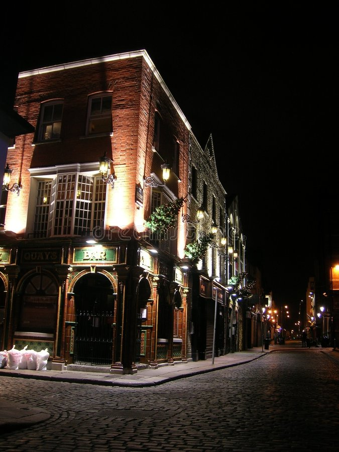 Pub by night stock photography