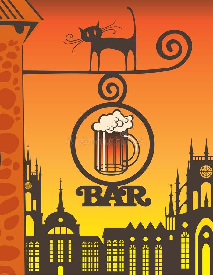 Pub och katt royaltyfri illustrationer