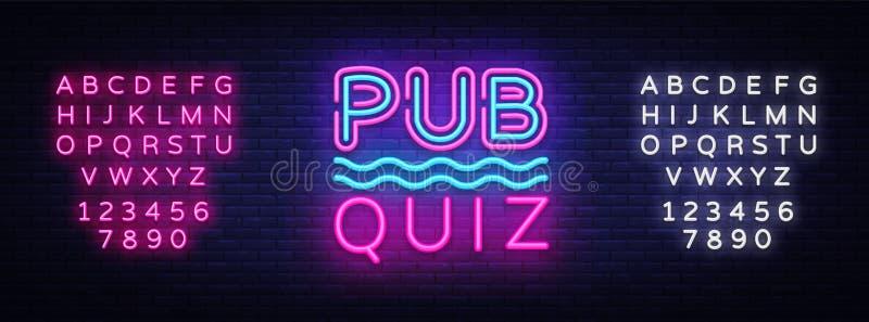 Pub Quiz night announcement poster vector design template. Quiz neon signboard, light banner. Pub quiz held in pub or stock illustration