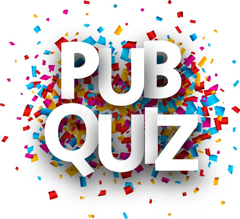 Pub quiz sign with colorful confetti. royalty free illustration