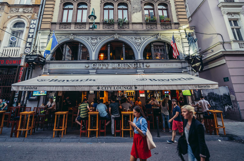 Pub in Sarajevo royalty free stock photography