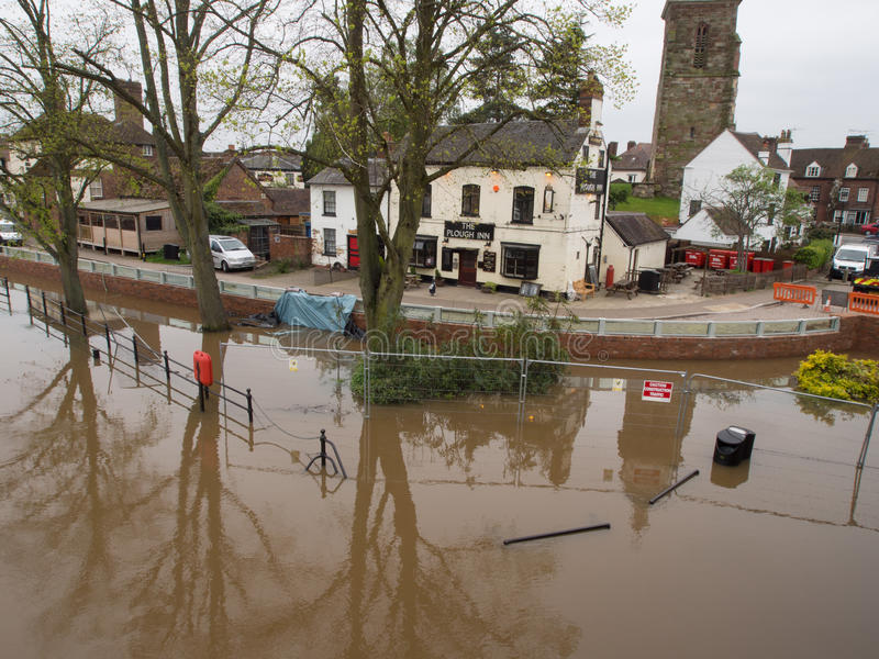 Pub saved newly completed flood defenses. Upton Upon Severn, Worcestershire, UK on Wednesday 2nd May. Pub saved by newly completed flood defenses being tested royalty free stock photo
