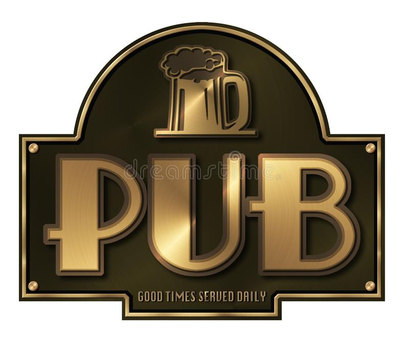 Pub sign Brass Plaque stock illustration