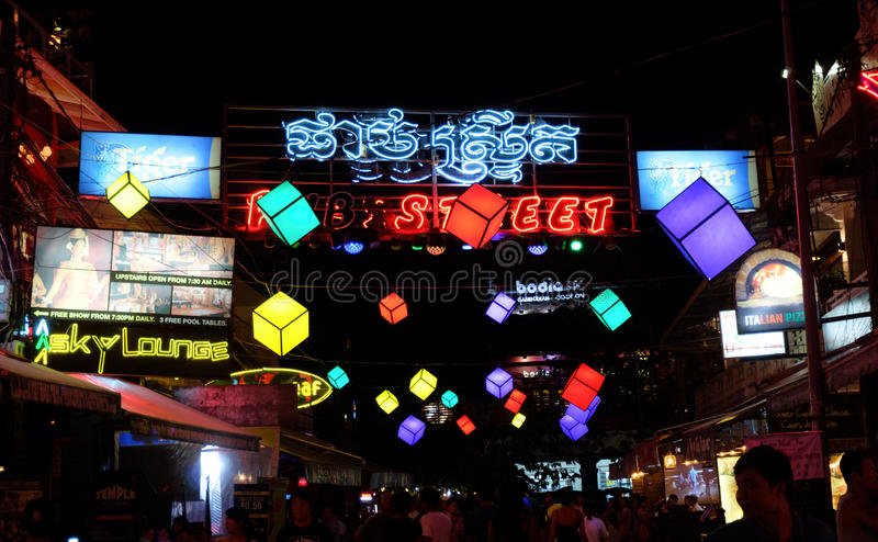 Pub Street, Bars, Clubs and Discos, Siem Reap Angkor Cambodia nightlife near Angkor Wat stock photography