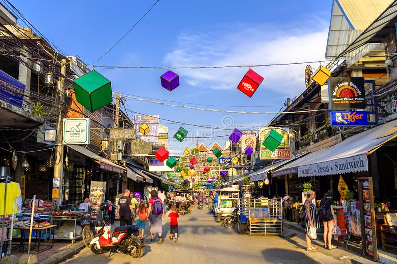 Pub Street in Siem Reap. Touristy Pub street in downtown Siem Reap, Cambodia royalty free stock photos