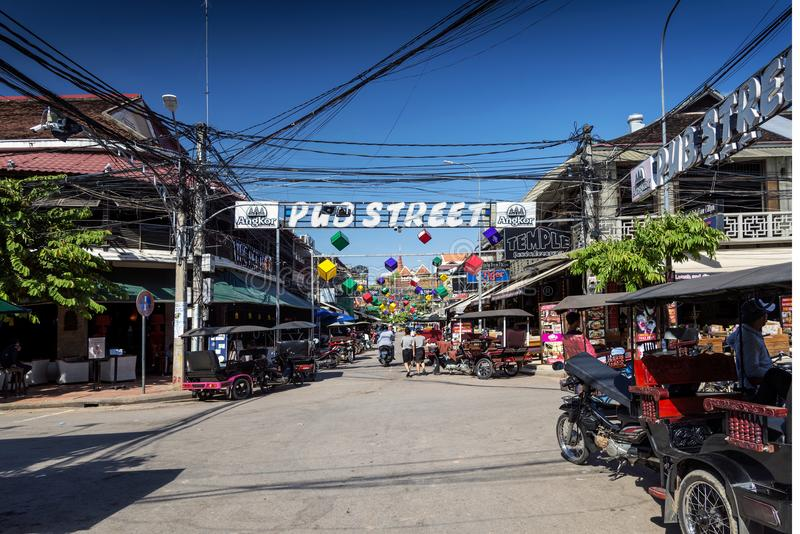 Pub street tourist area of siem reap city in cambodia. Pub street tourist bar and restaurant area of siem reap city near angkor wat in cambodia royalty free stock photography