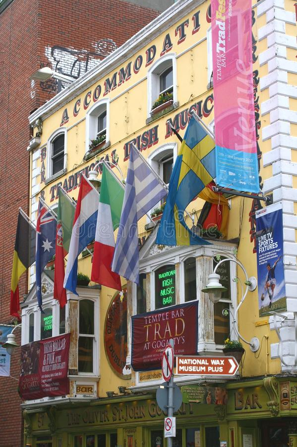 Temple Bar District, European flags,Dublin,Ireland. Pub in Temple Bar District in the centre of Dublin in Ireland with flags from different European countries stock photo