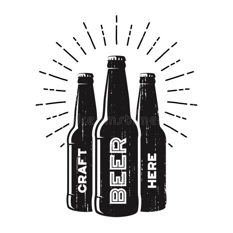 Pub texturizado de la cerveza del arte, cervecería, diseño del logotipo de la barra ilustración del vector