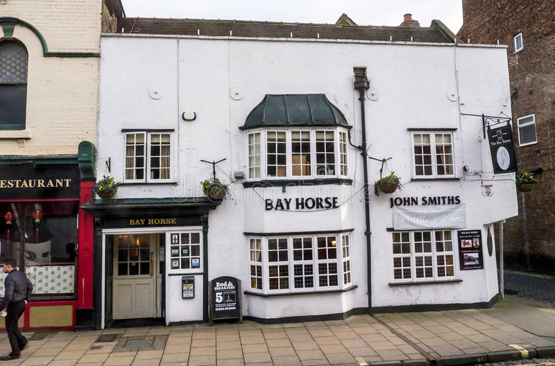 Pub in York which is a walled city, situated at the confluence of the Rivers Ouse and Foss in North Yorkshire, England. The city was founded by the Romans in 71 royalty free stock images